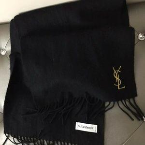 Yves Saint Laurent Black Wool Scarf
